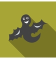 Funny halloween ghost icon flat style vector image vector image