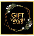 gift voucher card golden flower crown black backgr vector image