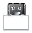 Grinning with board button d on a computer mascot