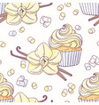 hand drawn seamless pattern with vanilla cupcake vector image vector image