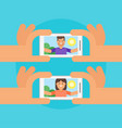 happy man and woman taking selfie vector image vector image