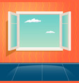 home open glass window frame cartoon interior vector image vector image
