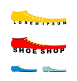 Logo shoes Long boots Emblem for shoe store or vector image