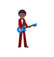 male african american musician in red suit playing vector image vector image
