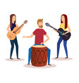man playing bongo and girls playing guitars vector image vector image