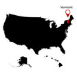 map of the us state of vermont vector image vector image