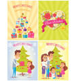 merry christmas and happy year vector image vector image