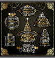 merry christmas design labels golden set vector image