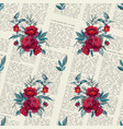 pattern with flowers on a newspaper vector image