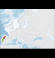 portuguese republic location on europe map vector image