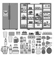 refrigerator with products flat line line vector image vector image