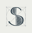 s letter logo with construction grid lines
