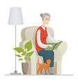 senior woman reading - flat design style vector image vector image