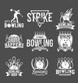 set bowling emblems labels badges an vector image