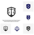 set of law office logo in the form of shield with vector image vector image
