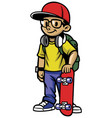 skater boy pose vector image vector image