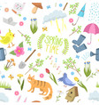 spring time natural floral symbols icons beauty vector image