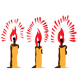 Three burning candles vector image vector image