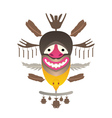 tribal mask with feather and fish vector image