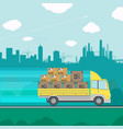 truck transporting containers vector image vector image