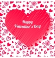 Valentines day card on hand drawn hearts vector image vector image