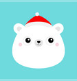 white bear face head icon red santa claus hat vector image