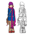 Winter cute girl dressing stripped scarf vector image vector image