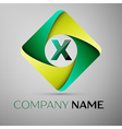 X letter colorful logo in the rhombus template for vector image