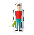 young man with shopping bag vector image