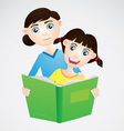 Girl and Mom Reading The Book vector image