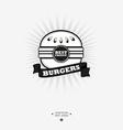 Burger logo Fast food symbol with ribbon vector image