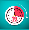 19 nineteen minutes clock icon time symbol with vector image vector image