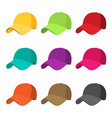 baseball cap icon set flat isolate on a white vector image vector image