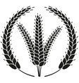 black and white ripe wheat ear wreath silhouette vector image