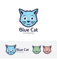 blue cat logo design vector image vector image