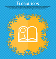 Book sign icon Open book symbol Floral flat design vector image
