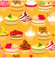 Cakes seamless yellow background vector image vector image