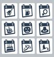 calendar icons representing holidays vector image
