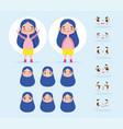 cartoon character animation little girl long hair vector image