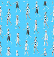 cartoon color android robots seamless pattern vector image