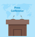 cartoon press conference card poster broadcast vector image vector image