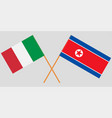 crossed flags italy and north korea vector image vector image