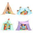 cute little children playing with a teepee tent vector image vector image