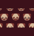 cute pug faces vector image vector image