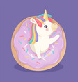 cute unicorn with donut sweet poster bakery and vector image vector image