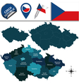 Czech Republic map with named divisions vector image vector image
