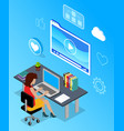digital marketing specialist with computer vector image vector image