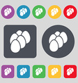eggs icon sign A set of 12 colored buttons Flat vector image
