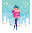 elegant and fashionable girl with gift box vector image vector image