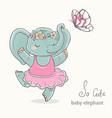 elephant ballerina dancing kid cute animal vector image